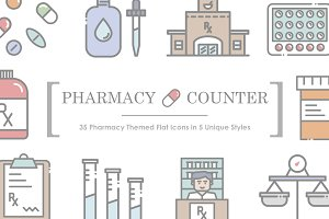 Pharmacy Counter Icon Set