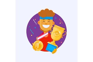 Victory concept. Man holding golden bowl fnd medal.Winner cup. Sporting Achievement. Vector illustration