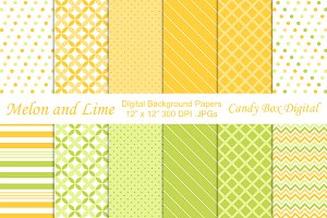 Melon Lime Digital Background Papers