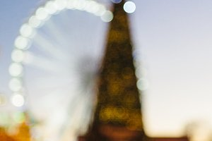 Blurred Christmas tree on a fair