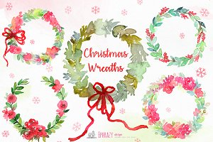 Christmas wreaths clipart Watercolor