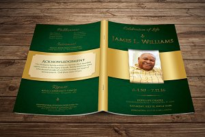 Green Regal Funeral Program Template