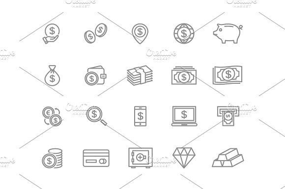 Set Of Vector Bank And Money Line Icons Coin Cash Card Credit Atm Diamont Wallet Gold Deposit Purse Piggy Diamond Dollar Bag And More Editable Stroke