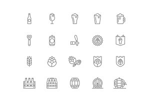 Set of vector beer and bar, pub line icons. Alcohol, bottle, mug, barley, hop, barrel, ale, froth, keg, beaker, jar and more. Editable Stroke.