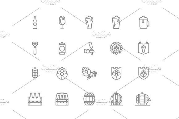 Set Of Vector Beer And Bar Pub Line Icons Alcohol Bottle Mug Barley Hop Barrel Ale Froth Keg Beaker Jar And More Editable Stroke