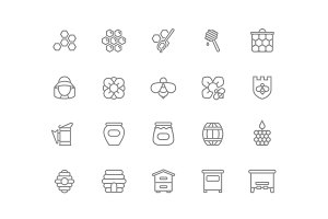 Set of vector honey line icons. Bee, honeycomb, barrel, beekeeper, dipper, jar, flower, beehive, pot, hexagon, beeswax, spoon and more. Editable Stroke.
