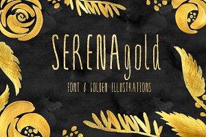 SERENA gold. Fine art font .