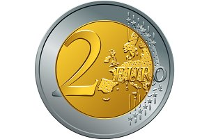 vector money gold coin two euro