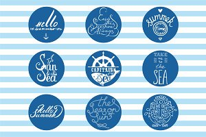 vector sea lettering pack