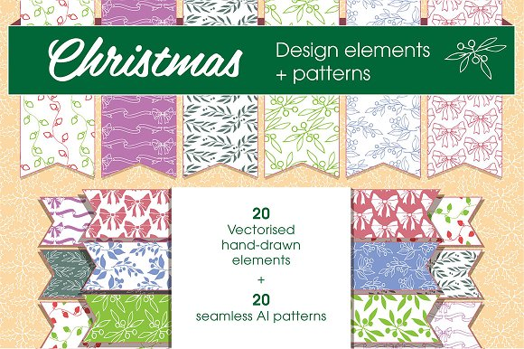 Christmas patterns & elements in Graphics