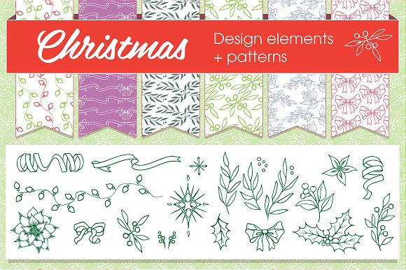 Christmas patterns & elements in Graphics - product preview 1