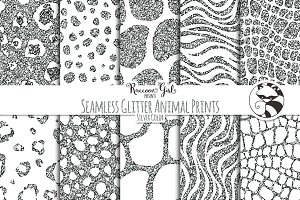 Seamless Glitter Animal Prints Slvr