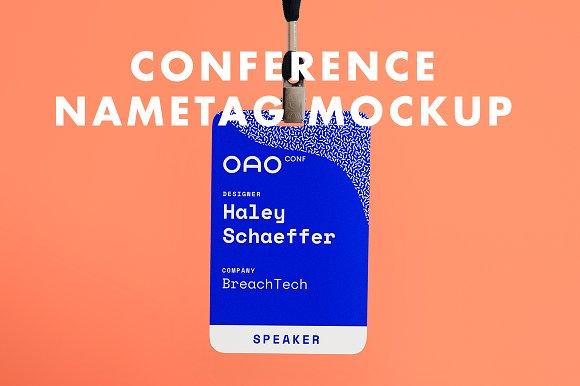 Free Conference Name Tag Mockup