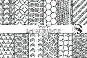 Seamless Glitter Geometrics Slvr