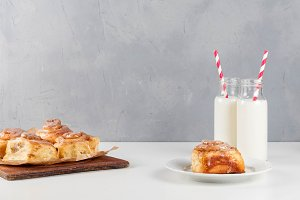 Breakfast table with cinnamon rolls