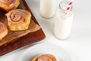 Breakfast with cinnamon rolls