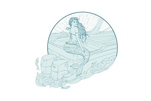 Mermaid Sitting on Boat Drawing