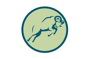Mountain Sheep Jumping Circle Icon