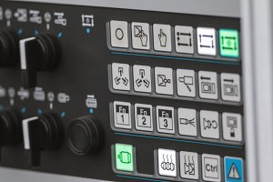 Energy security - system management panel. Red power button - industrial remote control.