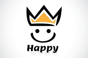 Happy Smiley King Logo Template