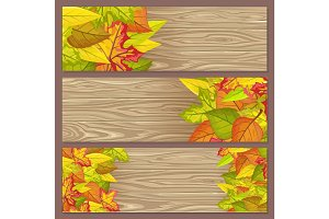 Set of Autumn Sale Flyers on Wooden Background
