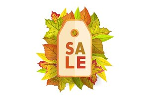 Autumn sale tag label template. Fall Pricetag