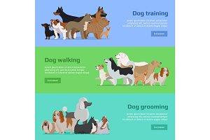 Dog Training, Walking, Grooming Banners Set