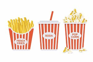Soda, french fries and Popcorn