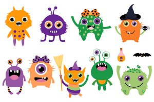 Cute Halloween monsters clip art