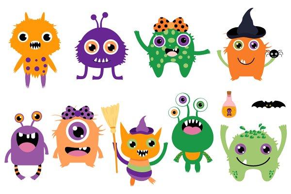 Cute Halloween Monsters Clip Art Custom Designed Illustrations Creative Market