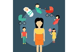 Motherhood Concept Illustration In Flat Design.