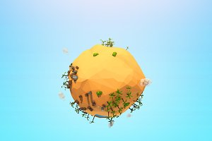 Cartoon Low Poly Sand Planet