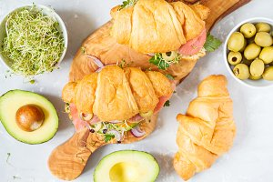croissant sandwich with fish