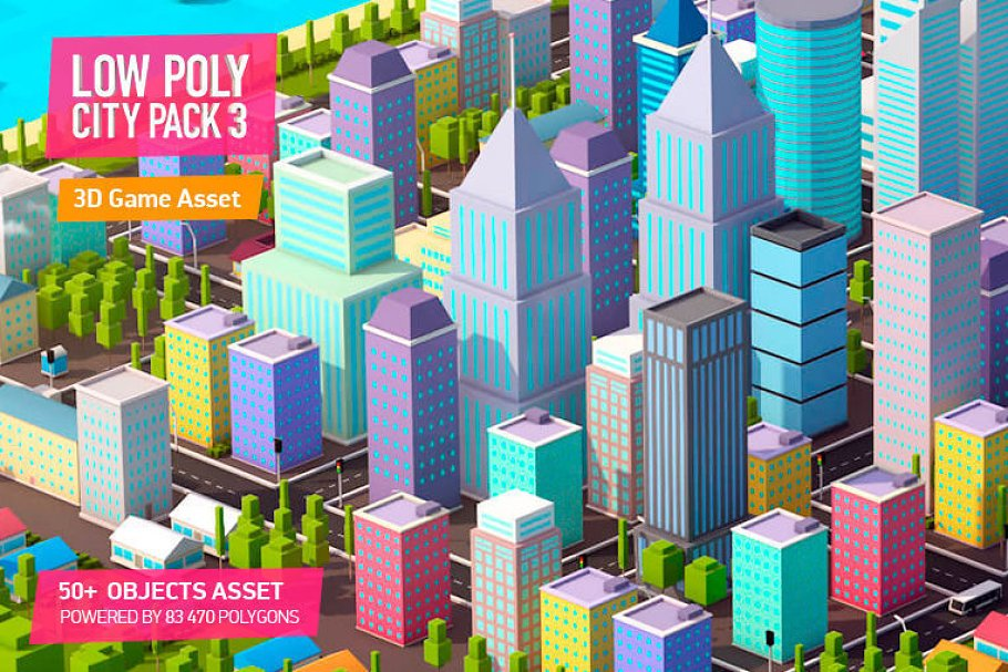 Low Poly City Pack 3 ~ Architecture Models ~ Creative Market