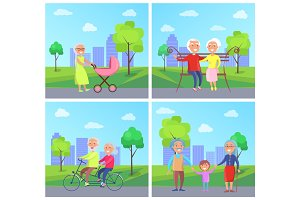 Set of Illustrations with Grandparents and Kids