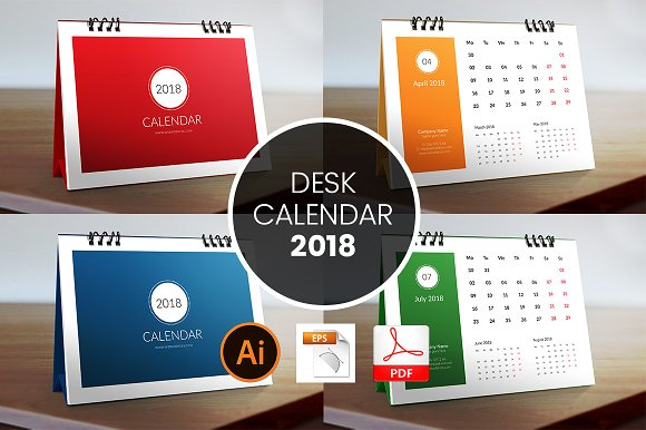 2018 Desk Calendar Template Stationery Templates Creative Market