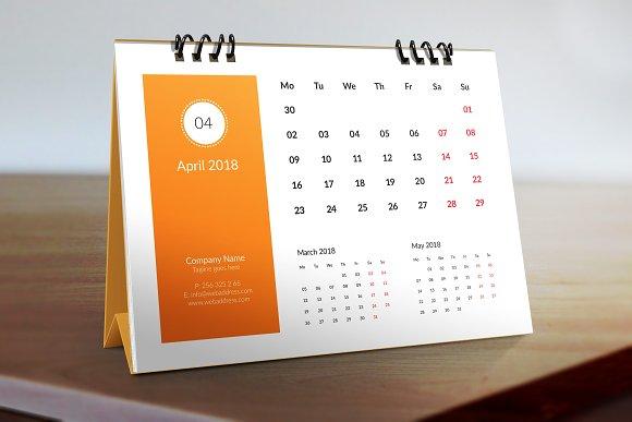 2018 Desk Calendar Template Stationery Templates Creative Market