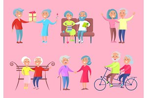 Smiling Older People Isolated Illustration on Pink