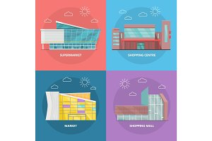 Shopping Centre Icon Set in Flat Design