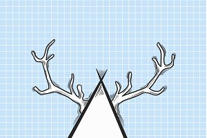 Vector of antler on triangle
