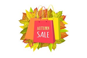 Autumn Sale Vector Concept in Flat Design