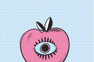 Vector of eye on apple icon