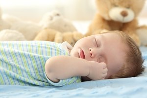 Portrait of a cute baby sleeping