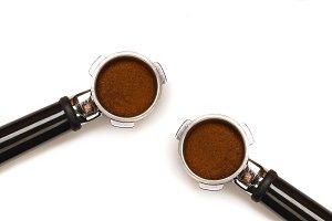 Two espresso coffee machine pistons