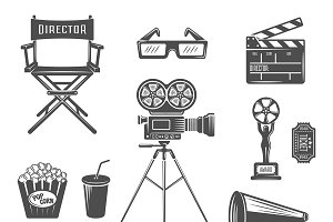 Cinema Black White Icons Set