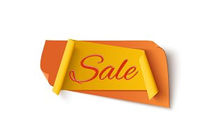 Orange with yellow sale banner.