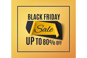 Black friday sale banner, on orange background.
