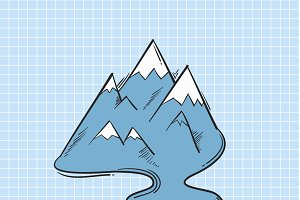 Illustration of mountain isolated