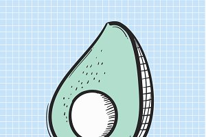 Illustration of avocado isolated