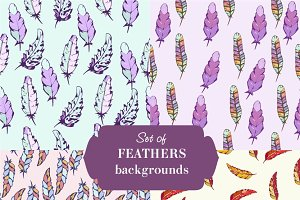 Set of feathers seamless pattern